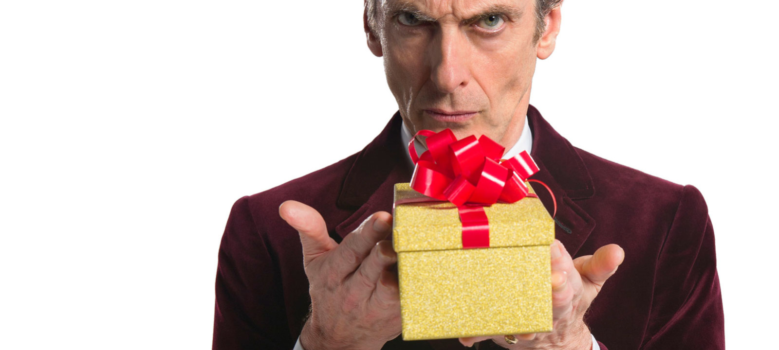 Peter Capaldi and gift (Photo: BBC)