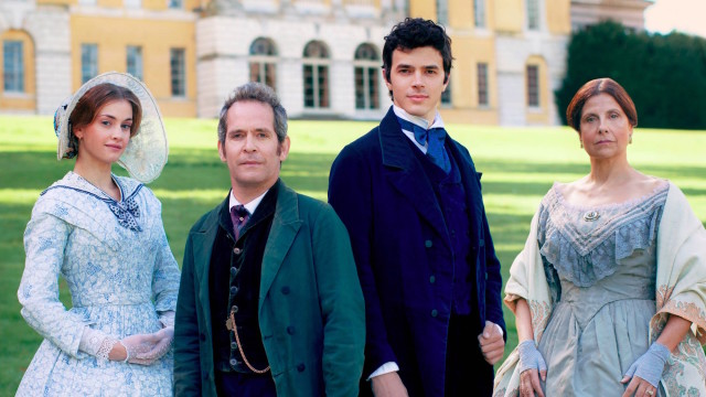 Stefanie Martini, Tom Hollander, Harry Richardson and Rebecca Front in Doctor Thorne.