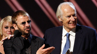 Musician Ringo Starr of the Beatles, Beatles producer Sir George Martin and producer Giles Martin accept the Best Compilation Sountrack Album award for 'Love' onstage during the 50th annual Grammy awards held at the Staples Center on February 10, 2008 in Los Angeles, California.