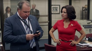 Screengrab from Veep Season 5 featuring Kevin Dunn and Julia Louis-Dreyfus.