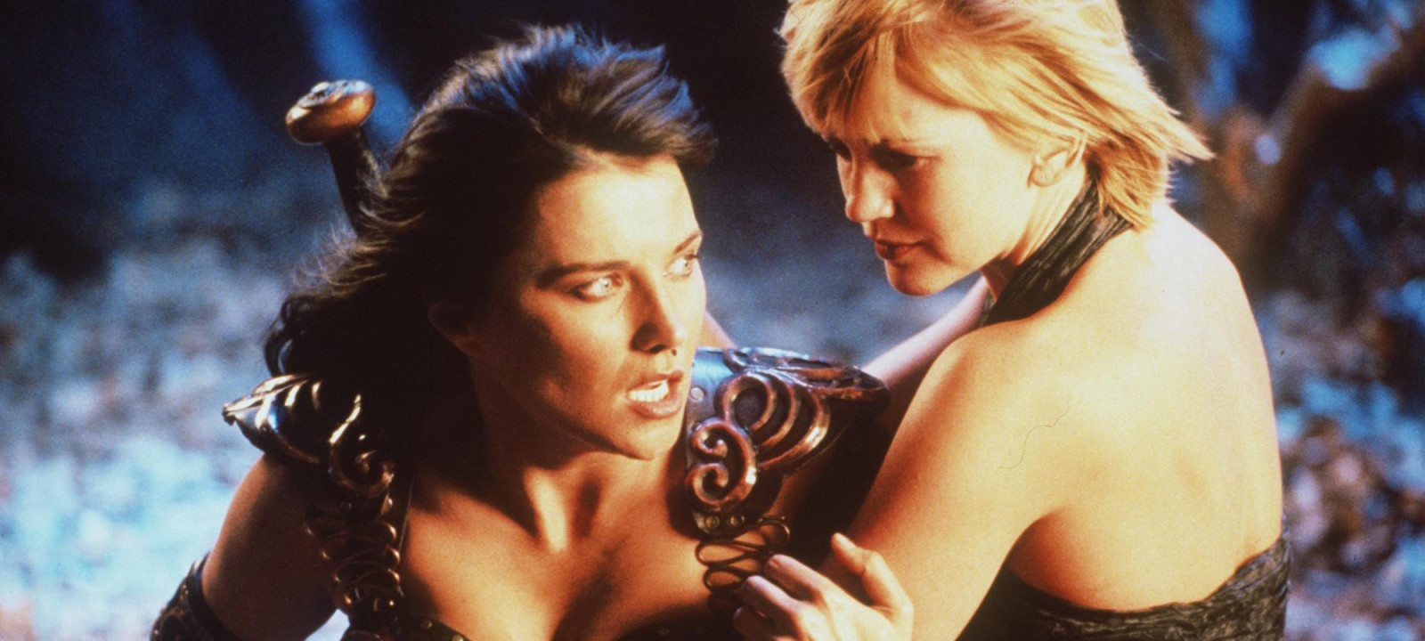 """Actress Lucy Lawless stars as Xena and Renee O'Connor stars as Gabrielle in Renaissance Pictures and Studio USA""""s syndicated television series """"Xena Warrior Princess."""""""