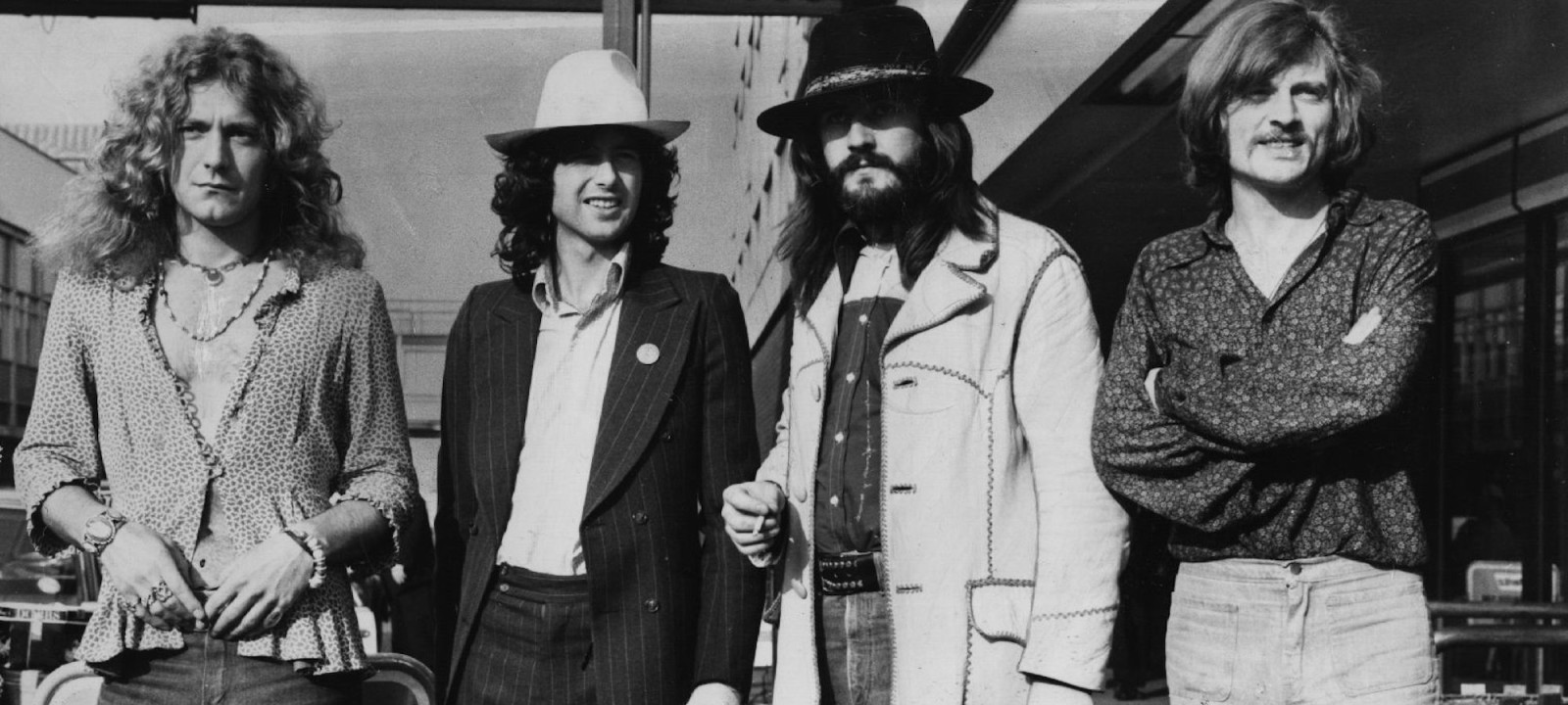 June 1973:  British rock band Led Zeppelin. From left to right, Robert Plant, Jimmy Page, John Bonham (1947 – 1980), John Paul Jones.