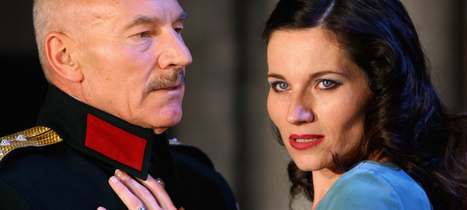 Actor Patrick Stewart and actress Kate Fleetwood perform at the Cast of Macbeth Photocall at the Gielgud Theatre on September 25, 2007 in London, England.