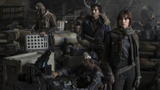 Official image for Rogue One: A Star Wars Story. L to R: Actors Riz Ahmed, Diego Luna, Felicity Jones