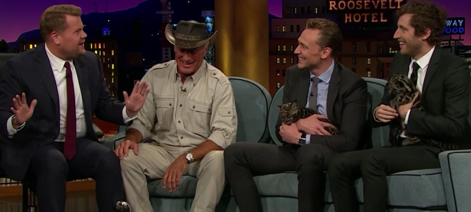 Tom Hiddleston and Thomas Middleditch with baby leopards on The Late Late Show with James Corden