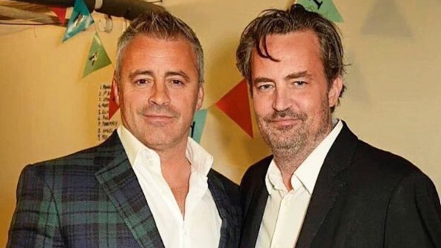 Matt LeBlanc and Matthew Perry backstage in London