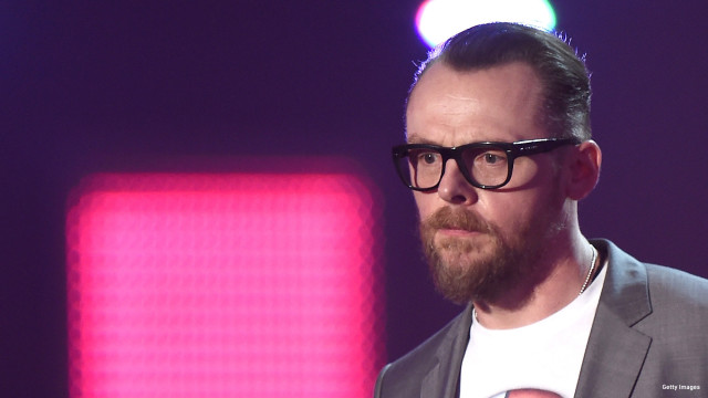 Best British Group award presenter Simon Pegg  on stage during the BRIT Awards 2016 at The O2 Arena on February 24, 2016 in London, England.