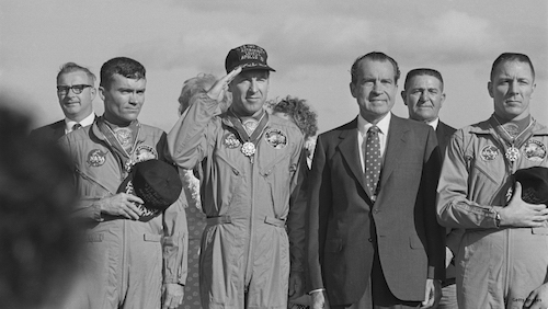 President Nixon meets the Apollo 13 astronauts in 1970. (Photo: Harry Benson / Getty Images)