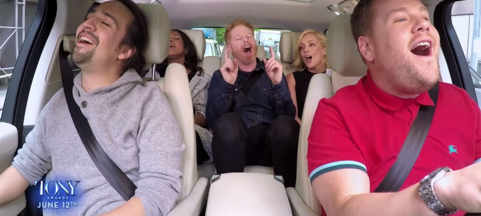 Lin-Manuel Miranda, Audra McDonald, Jesse Tyler Ferguson and Jane Krakowski join James Corden for a Broadway=themed 'Carpool Karaoke'