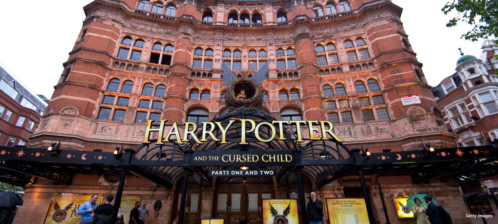 "A general view of The Palace Theatre as previews start today for ""Harry Potter and the Cursed Child"" on June 7, 2016 in London, United Kingdom. The play has a sold out run until May 2017 with fans expected to fly to London from all over the world to see it."