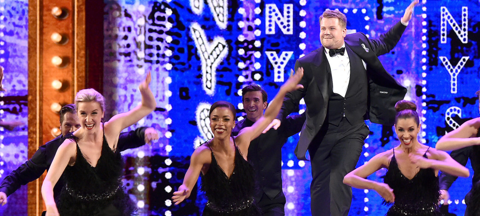 Host James Corden performs onstage during the 70th Annual Tony Awards at The Beacon Theatre on June 12, 2016 in New York City.