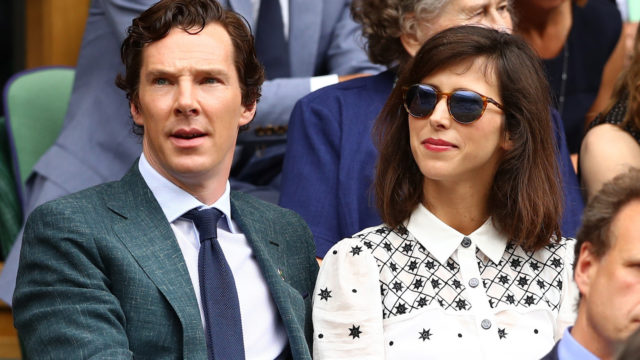 Benedict Cumberbatch and Sophie Hunter look on prior to the Men's Singles Final match between Andy Murray of Great Britain and Milos Raonic of Canada on day thirteen of the Wimbledon Lawn Tennis Championships at the All England Lawn Tennis and Croquet Club on July 10, 2016 in London, England.