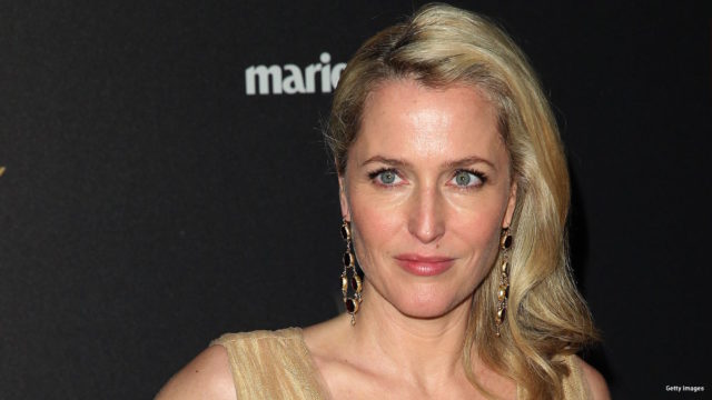 Actress Gillian Anderson  attends the TWC/NETFLIX Golden Globe after party, in Beverly Hills, California, on January 10, 2016.