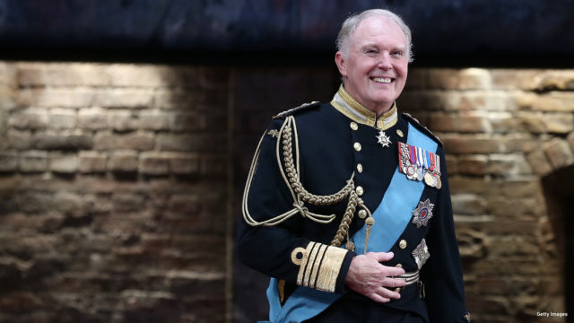 "Actor Tim Pigott-Smith takes a bow during curtain call for the Broadway Opening Night of ""King Charles III"" at the Music Box Theatre on November 1, 2015 in New York City."