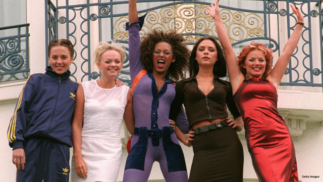 "The ""Spice girls"" pose for photographers in front of Cannes Martinez Hotel 11 May 1997 as the 50th International Film Festival in Cannes goes on."