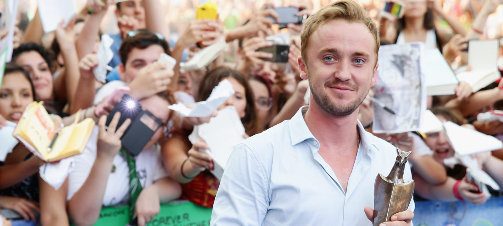 Tom Felton receives the Giffoni Experience Award during Giffoni Film Festival 2015 on July 21, 2015 in Giffoni Valle Piana, Italy.