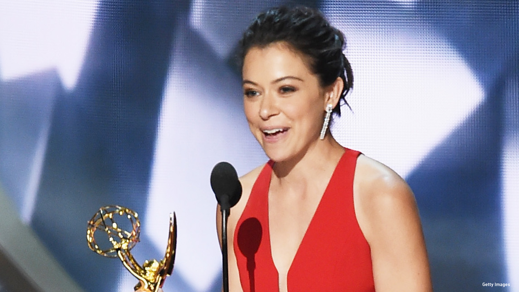 Tatiana Laslany accepts the award for Outstanding Lead Actress in a Drama Series. (Photo: Getty Images)