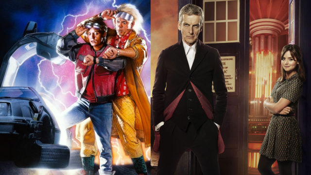 Marty McFly, Doc Brown, the Doctor and Clara Oswald (Photos: Universal Pictures/BBC)