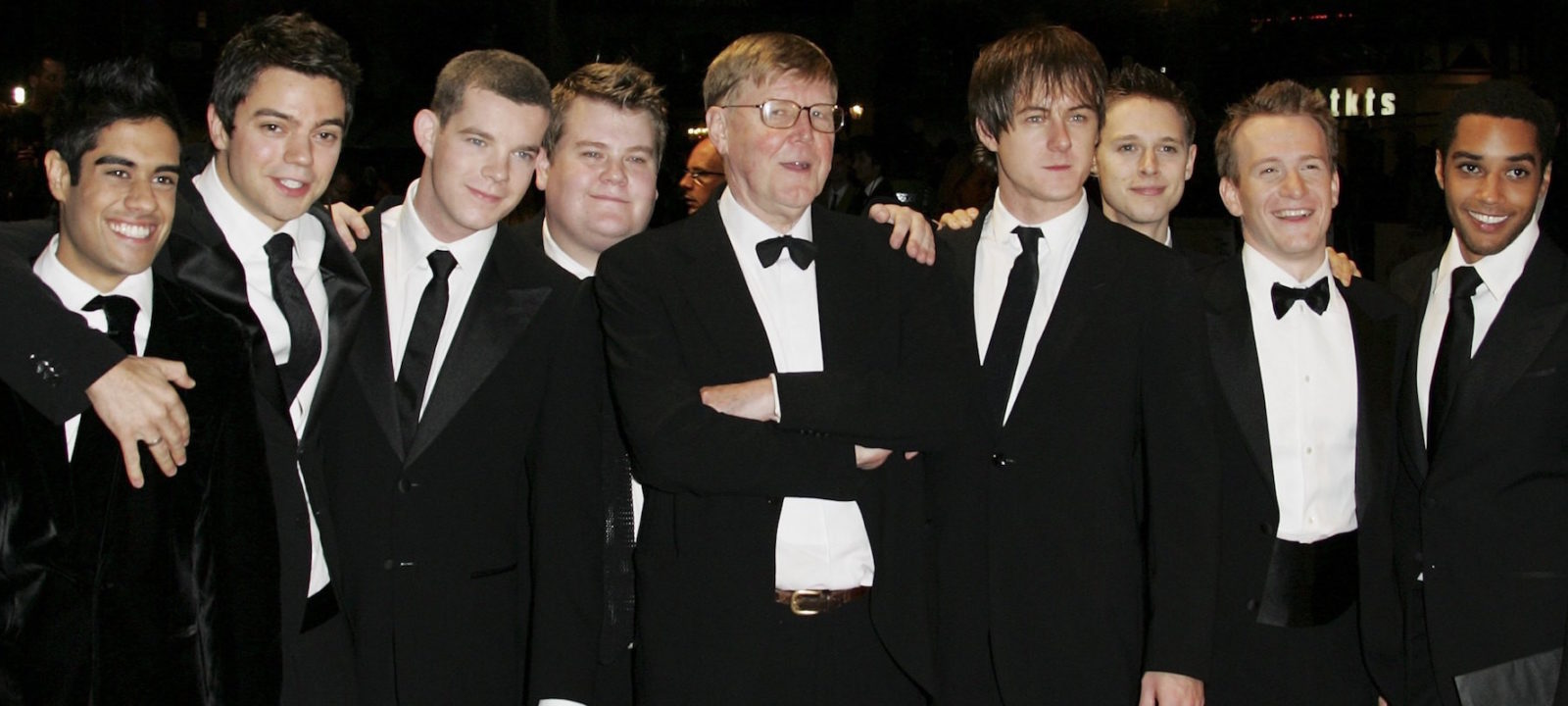"Writer, Alan Bennett (centre) and the cast of the film arrive at the UK film Premiere of ""The History Boys"" at the Odeon West End, Leicester Square on October 2, 2006 in London, England."