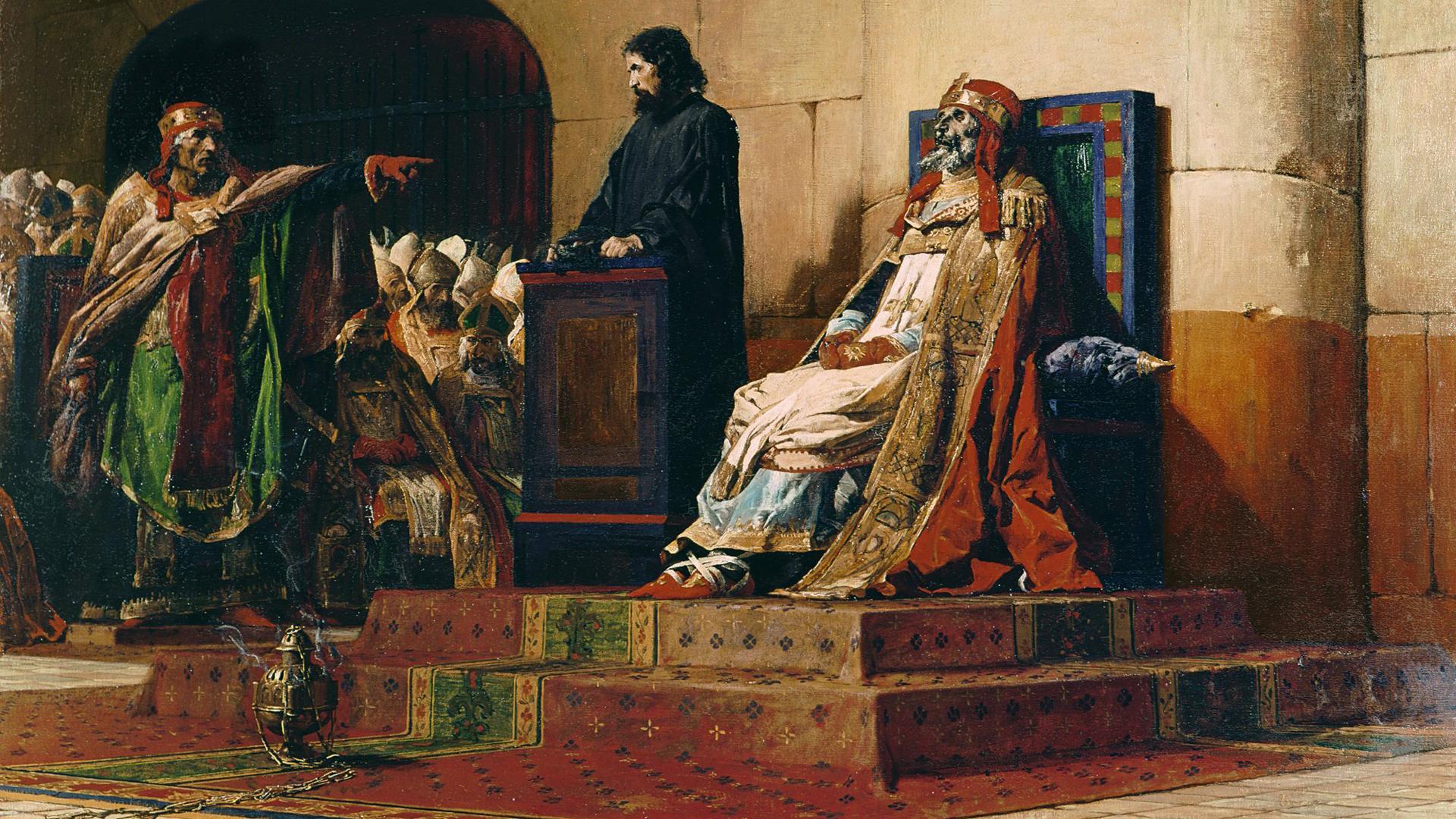"""Jean-Paul Laurens, Le Pape Formose et Étienne VII (""""Pope Formosus and Stephen VII"""")"""