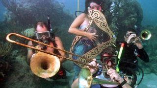 Divers participating in the Lower Keys Underwater Music Festival pretend to play musical instruments underwater 08 July 2000 off the Florida Keys. The festival attracted 600 divers and snorkelers who listened to music and reef preservation messages via a local radio station's six-hour broadcast piped beneath the sea at the Looe Key National Marine Sanctuary. From left are Steve Murphy of Bay Point, Fla.;  Nancy Herlehey, of Big Pine Key, Fla.; Bill Becker, the event's organizer of Sugarloaf Key, Fla.; and Kevin Schick of Syracuse, N.Y.
