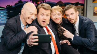 "Patrick Stewart, Rupert Grint, and Dan Stevens chat with James Corden during ""The Late Late Show with James Corden,"" Monday, March 6, 2017 (12:35 PM-1:37 AM ET/PT) On The CBS Television Network."