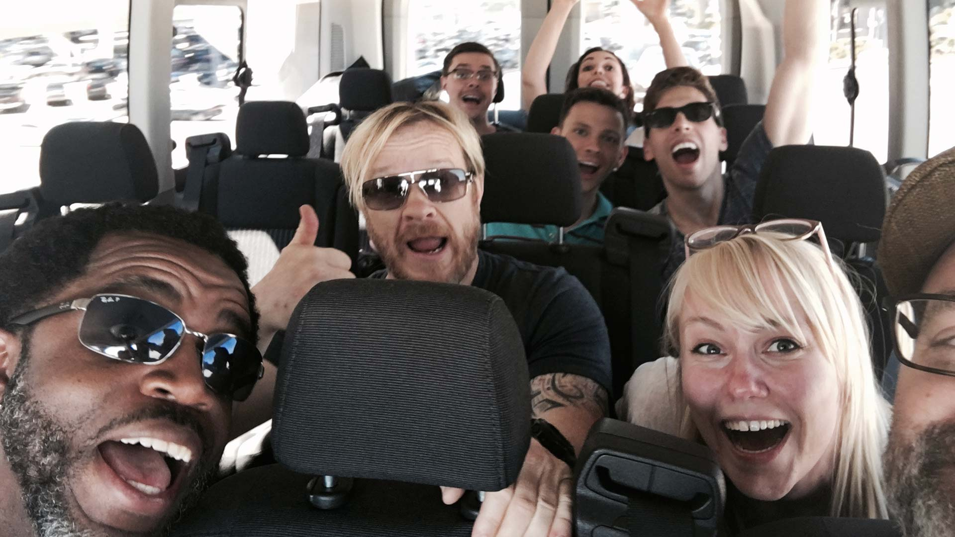 The gang is back in San Diego! (Heli Kennedy, OB comic writer, is the stoked blond woman in both photos.)