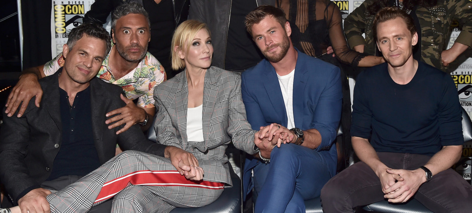 Mark Ruffalo, director Taika Waititi, actors Cate Blanchett, Chris Hemsworth and Tom Hiddleston from Marvel Studios' 'Thor: Ragnarok' at the San Diego Comic-Con International 2017 Marvel Studios Panel in Hall H on July 22, 2017 in San Diego, California.