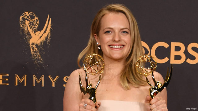"""Elisabeth Moss poses with the awards for  Outstanding Drama Series and Outstanding Lead Actress in a Drama Series for """"The Handmaid's Tale"""" during the 69th Emmy Awards at the Microsoft Theatre on September 17, 2017 in Los Angeles, California"""