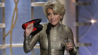 Presenter Emma Thompson speaks onstage during the 71st Annual Golden Globe Award at The Beverly Hilton Hotel on January 12, 2014 in Beverly Hills, California.