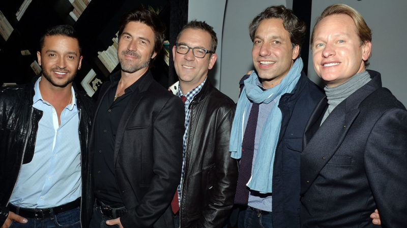 """Queer Eye cast members Jai Rodriguez, Kyan Douglas, Ted Allen, Thom Filicia and Carson Kressley  attends the Tribeca Film and The Cinema Society screening of """"A Single Shot"""" after party at Bar Nana on September 19, 2013 in New York City."""