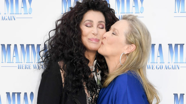 "Cher and Meryl Streep attend the ""Mamma Mia! Here We Go Again"" world premiere at the Eventim Apollo, Hammersmith on July 16, 2018 in London, England."