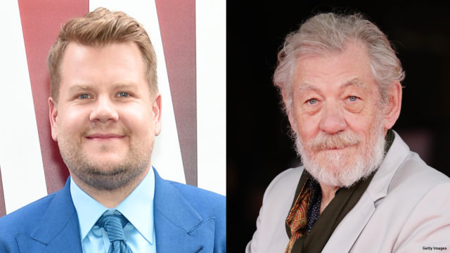 Composite image of James Corden and Sir Ian McKellen