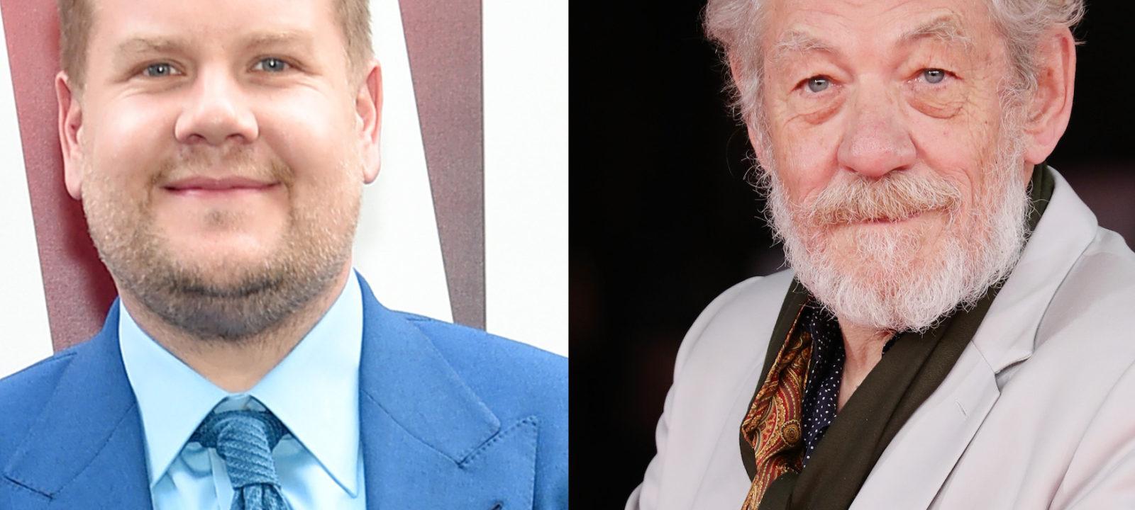 Composite image of James Corden and Sir Ian McKellen