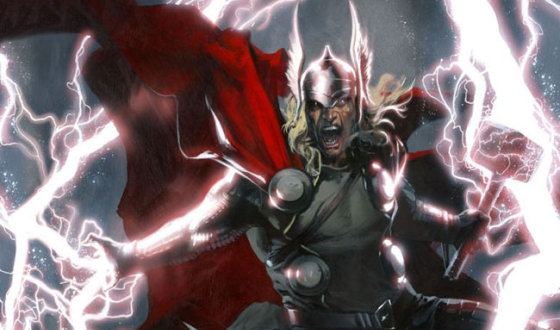 Superheroes Past (Batman), Present (Deadpool) and Future (Thor) Strut the Runway