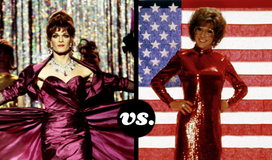Vida (Patrick Swayze) and Dorothy (Dustin Hoffman) Fierce Off in a Tourney of Movie Drag Queens