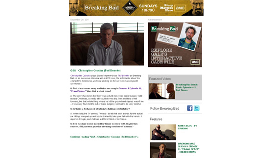 Sign Up Today for the <em>Breaking Bad</em> Newsletter and Get All The Latest Delivered to Your Inbox