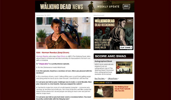 <em>The Walking Dead</em> Newsletter Gets an Upgrade With Bi-Weekly Prizes
