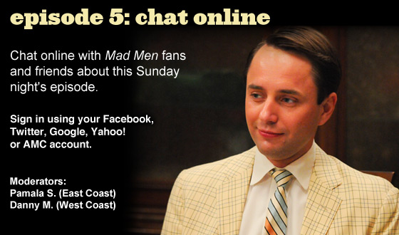 Chat Online About <em>Mad Men</em> Episode 5 on Sunday Night