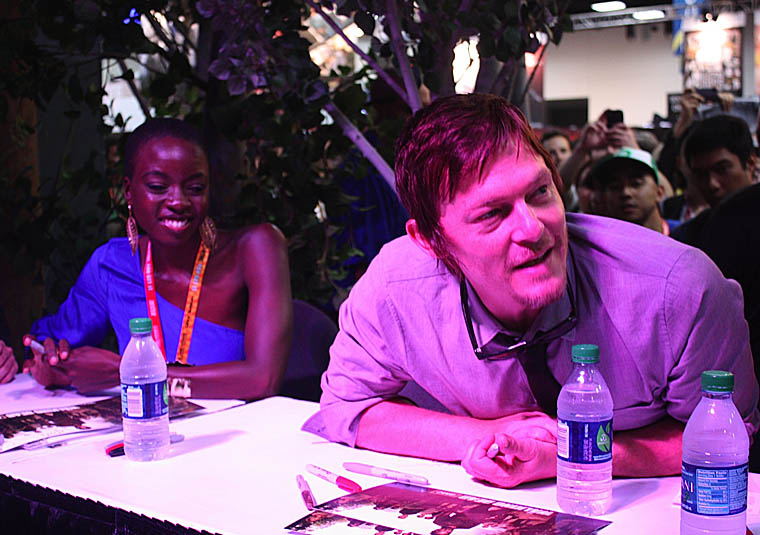 Danai Gurira (Michonne) and Norman Reedus (Daryl Dixon) of The Walking Dead at New York Comic Con 2012