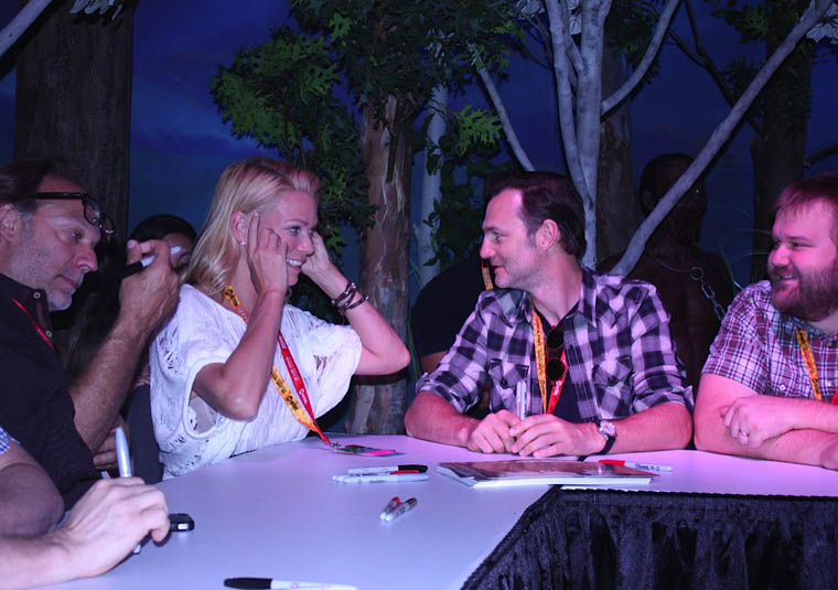 Greg Nicotero (Co-Executive Producer/Special FX Makeup Designer), Laurie Holden (Andrea), David Morrissey (The Governor) and Robert Kirkman (Writer/Executive Producer) of The Walking Dead at Comic-Con 2012