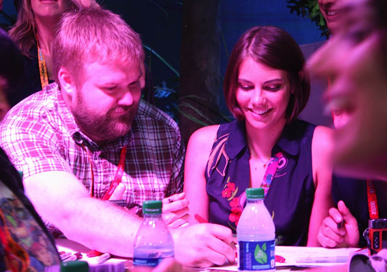 Robert Kirkman (Writer/Executive Producer) and Lauren Cohan (Maggie Greene) of The Walking Dead at Comic-Con 2012