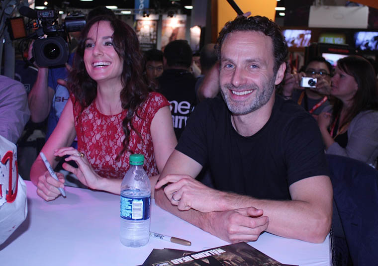 Sarah Wayne Callies (Lori Grimes) and Andrew Lincoln (Rick Grimes) of The Walking Dead at Comic-Con 2012