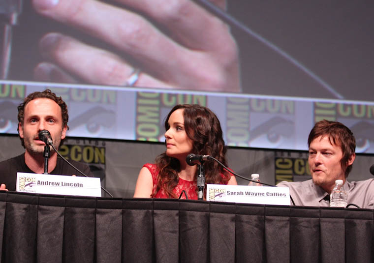 Andrew Lincoln (Rick Grimes), Sarah Wayne Callies (Lori Grimes) and Norman Reedus (Daryl Dixon) of The Walking Dead at Comic-Con 2012