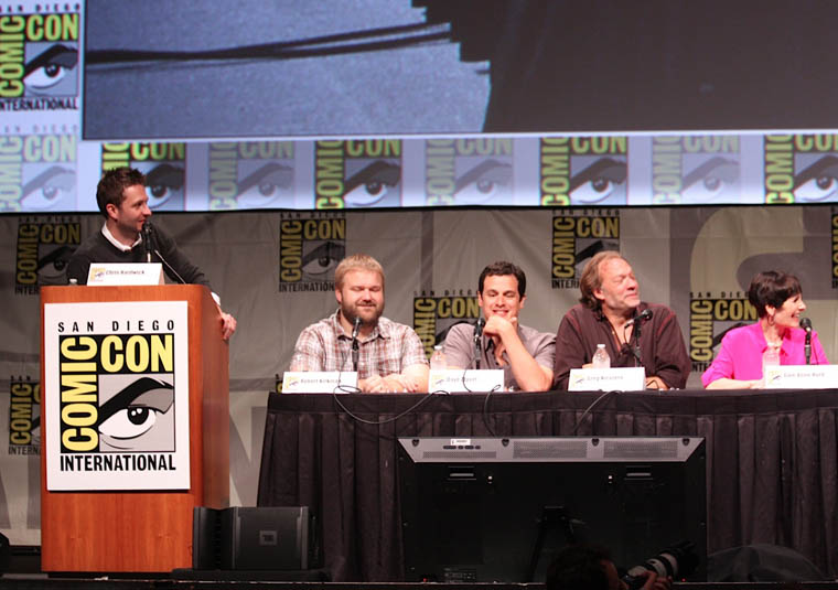 Chris Hardwich (Nerdist, Talking Dead, Host). Robert Kirkman (Writer/Executive Producer), David Alpert (Executive Producer), Greg Nicotero (Co-Executive Producer/Special FX Makeup Designer) and Gale Anne Hurd (Executive Producer) of The Walking Dead at Comic-Con 2012