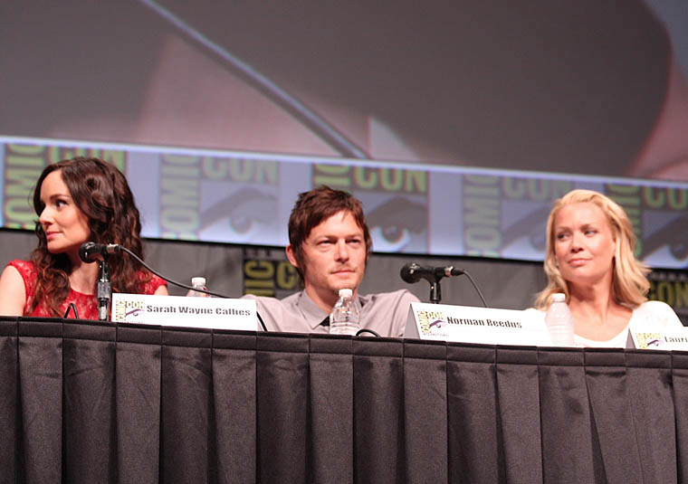 Sarah Wayne Callies (Lori Grimes), Norman Reedus (Daryl Dixon) and Laurie Holden (Andrea) of The Walking Dead at Comic-Con 2012