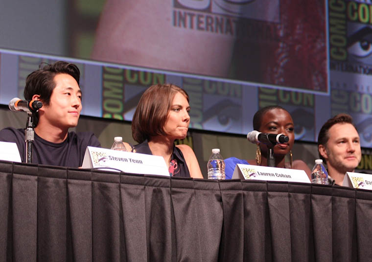 Steven Yeun (Glenn), Lauren Cohan (Maggie Greene), Danai Gurira (Michonne) and David Morrissey (The Governor) of The Walking Dead at Comic-Con 2012