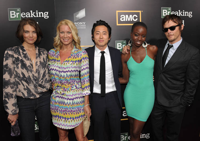 AMC The Walking Dead's Lauren Cohan (Maggie Greene), Laurie Holden (Andrea), Steven Yeun (Glenn), Danai Gurira (Michonne) and Norman Reedus (Daryl Dixon) at Breaking Bad Season 5 Premiere Party