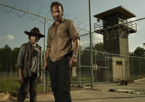 Carl Grimes (Chandler Riggs) and Rick Grimes (Andrew Lincoln) of The Walking Dead