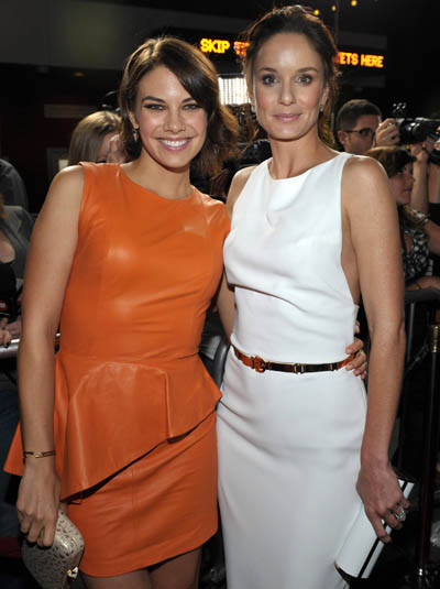Lauren Cohan (Maggie Greene) and Sarah Wayne Callies (Lori Grimes) of The Walking Dead